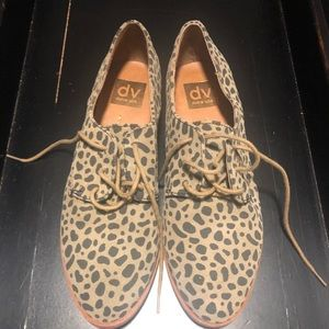 Dolce Vita Suede Animal Print Oxford Shoes